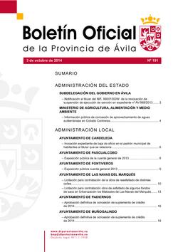 Boletín Oficial de la Provincia del lunes, 5 de enero de 2015