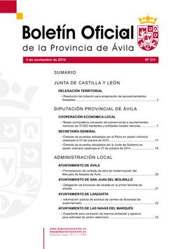 Boletín Oficial de la Provincia del lunes, 3 de noviembre de 2014