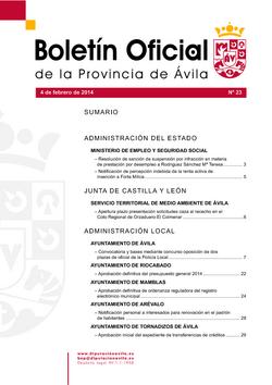 Boletín Oficial de la Provincia del martes, 4 de febrero de 2014