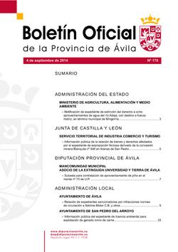 Boletín Oficial de la Provincia del jueves, 4 de septiembre de 2014