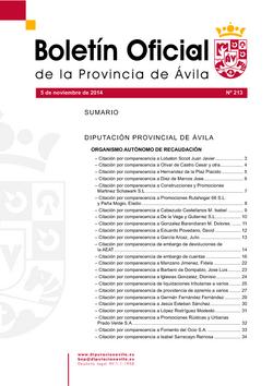 Boletín Oficial de la Provincia del miércoles, 5 de noviembre de 2014