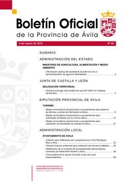 Boletín Oficial de la Provincia del jueves, 6 de marzo de 2014