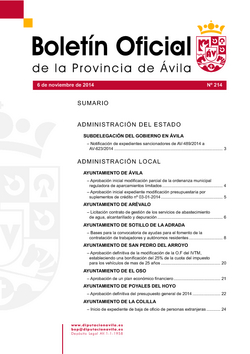 Boletín Oficial de la Provincia del jueves, 6 de noviembre de 2014