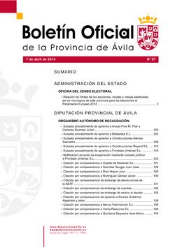 Boletín Oficial de la Provincia del lunes, 7 de abril de 2014