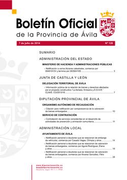 Boletín Oficial de la Provincia del lunes, 7 de julio de 2014