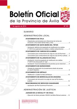 Boletín Oficial de la Provincia del jueves, 7 de agosto de 2014