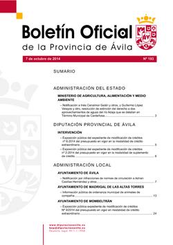 Boletín Oficial de la Provincia del martes, 7 de octubre de 2014