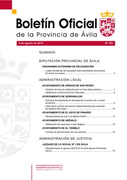 Boletín Oficial de la Provincia del viernes, 8 de agosto de 2014