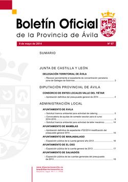 Boletín Oficial de la Provincia del viernes, 9 de mayo de 2014