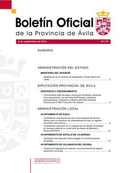 Boletín Oficial de la Provincia del martes, 9 de septiembre de 2014
