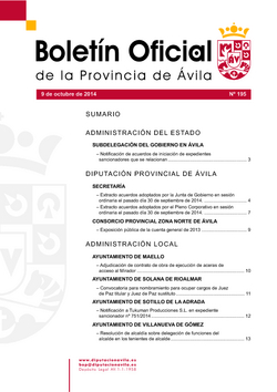 Boletín Oficial de la Provincia del jueves, 9 de octubre de 2014