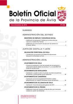 Boletín Oficial de la Provincia del martes, 9 de diciembre de 2014