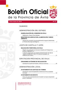 Boletín Oficial de la Provincia del lunes, 10 de marzo de 2014