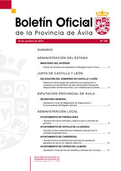 Boletín Oficial de la Provincia del viernes, 10 de octubre de 2014