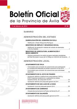 Boletín Oficial de la Provincia del martes, 11 de febrero de 2014