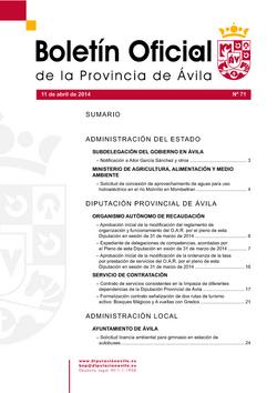 Boletín Oficial de la Provincia del viernes, 11 de abril de 2014