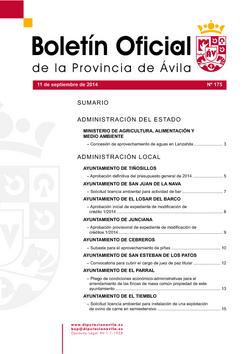 Boletín Oficial de la Provincia del jueves, 11 de septiembre de 2014