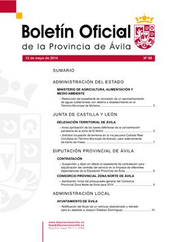 Boletín Oficial de la Provincia del lunes, 12 de mayo de 2014