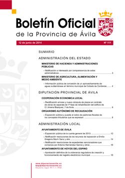 Boletín Oficial de la Provincia del jueves, 12 de junio de 2014