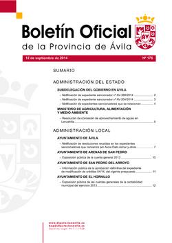 Boletín Oficial de la Provincia del viernes, 12 de septiembre de 2014