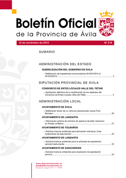Boletín Oficial de la Provincia del miércoles, 12 de noviembre de 2014