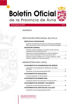 Boletín Oficial de la Provincia del lunes, 13 de enero de 2014