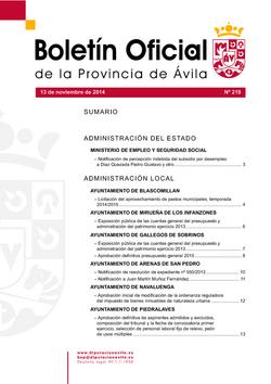 Boletín Oficial de la Provincia del jueves, 13 de noviembre de 2014