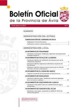 Boletín Oficial de la Provincia del martes, 14 de enero de 2014