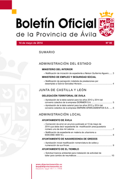 Boletín Oficial de la Provincia del miércoles, 14 de mayo de 2014
