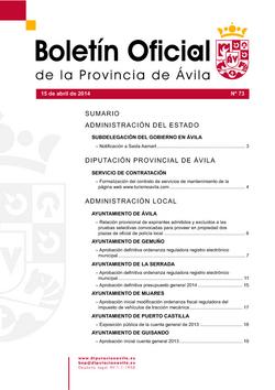 Boletín Oficial de la Provincia del martes, 15 de abril de 2014