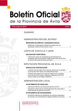 Boletín Oficial de la Provincia del jueves, 15 de mayo de 2014
