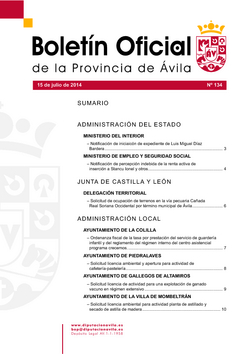 Boletín Oficial de la Provincia del martes, 15 de julio de 2014