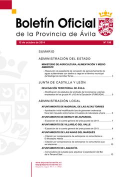 Boletín Oficial de la Provincia del miércoles, 15 de octubre de 2014
