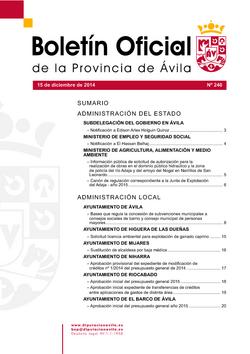 Boletín Oficial de la Provincia del lunes, 15 de diciembre de 2014