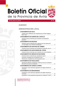 Boletín Oficial de la Provincia del jueves, 16 de enero de 2014
