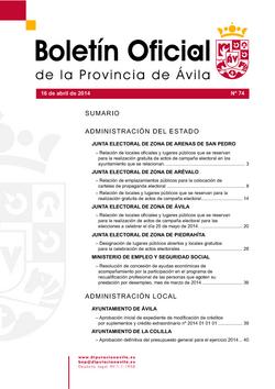 Boletín Oficial de la Provincia del miércoles, 16 de abril de 2014