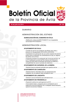 Boletín Oficial de la Provincia del miércoles, 16 de julio de 2014