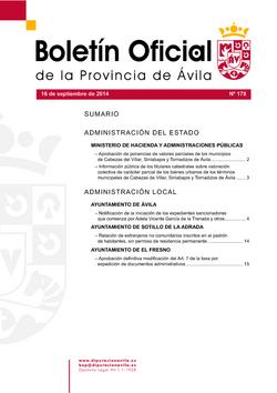Boletín Oficial de la Provincia del jueves, 8 de enero de 2015