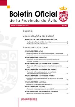 Boletín Oficial de la Provincia del martes, 16 de diciembre de 2014