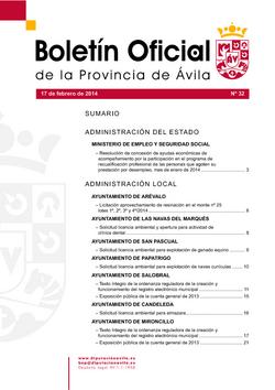Boletín Oficial de la Provincia del lunes, 17 de febrero de 2014