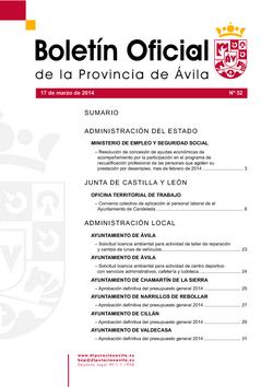 Boletín Oficial de la Provincia del lunes, 17 de marzo de 2014