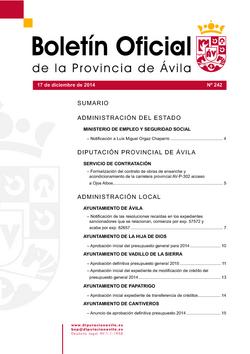 Boletín Oficial de la Provincia del miércoles, 17 de diciembre de 2014