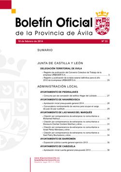 Boletín Oficial de la Provincia del martes, 18 de febrero de 2014