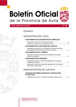 Boletín Oficial de la Provincia del jueves, 18 de septiembre de 2014
