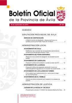 Boletín Oficial de la Provincia del viernes, 19 de septiembre de 2014