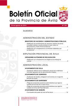 Boletín Oficial de la Provincia del miércoles, 20 de agosto de 2014