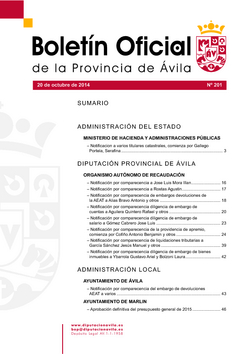 Boletín Oficial de la Provincia del lunes, 20 de octubre de 2014