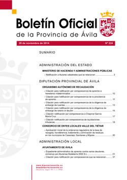 Boletín Oficial de la Provincia del jueves, 20 de noviembre de 2014