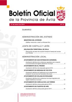Boletín Oficial de la Provincia del martes, 21 de enero de 2014