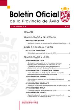 Boletín Oficial de la Provincia del miércoles, 21 de mayo de 2014